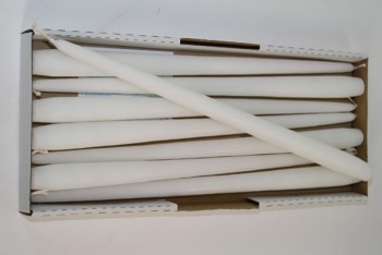 Taper Candle White 400/25mm 8 Pack