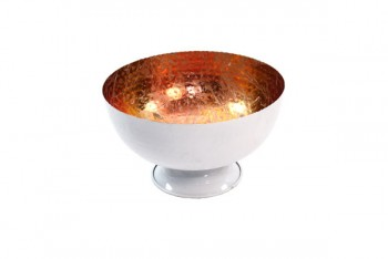 White Hammered Bowl Copper Inner 30cm