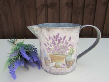 lavender metal jug for planting and flower arrangements