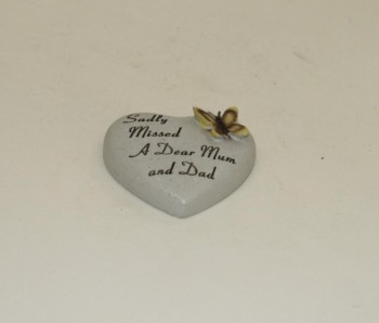 Sadly Missed a Dear Mum & Dad small memorial heart