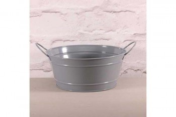 grey zinc planter for plant and floral arrangements