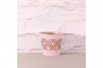 zinc pot pink with hessian for florists at wholesale prices