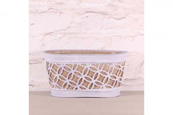 oval planter with hessian for planting and florist arrangements