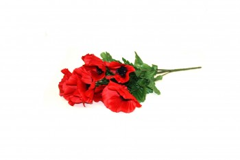 Red poppy artificial flowers for Remembrance Day tributes from GT Sundries