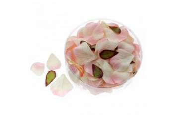 rose petals in pink and champagne for wedding tables and decoration