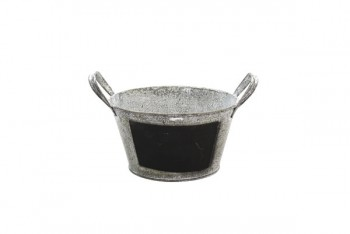 Metal Planter With Ears and Blackboard 18cm