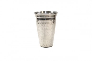 Small Hammered Vase 17cm Silver