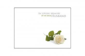 In Loving Memory of a Devoted Husband White Rose Card