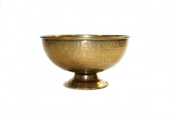 Small Brass Effect Hammered Bowl 25cm