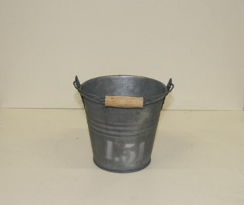 Zinc bucket with wooden handle from GT Sundries