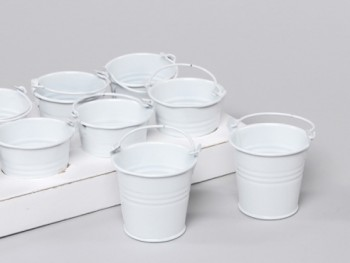 white zinc buckets for florists and gardeners from GT Sundries
