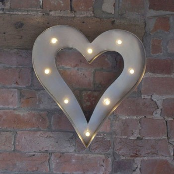Retro LED Heart White